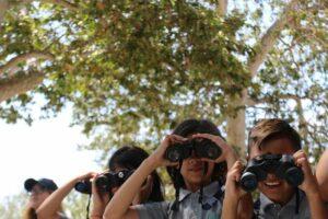Children birding in park