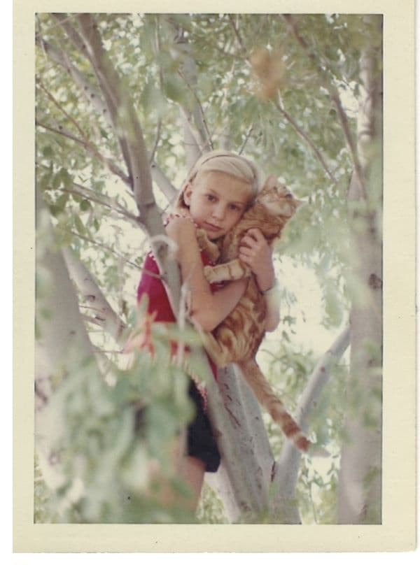 Maeve With Cat In Tree
